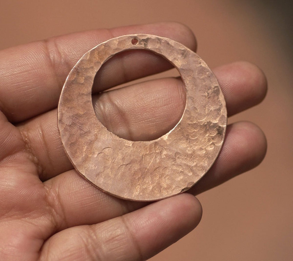 Copper Hoop Earring Blanks Hand Hammered 45mm 26G Offset Circle for Jewelry Design, Jewelry Components - 2 Pieces