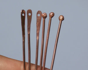 Handmade Copper Paddle Headpins with Hole and Round Head 18 gauge - 2 1/2 inch long - 65mm - 8 pieces