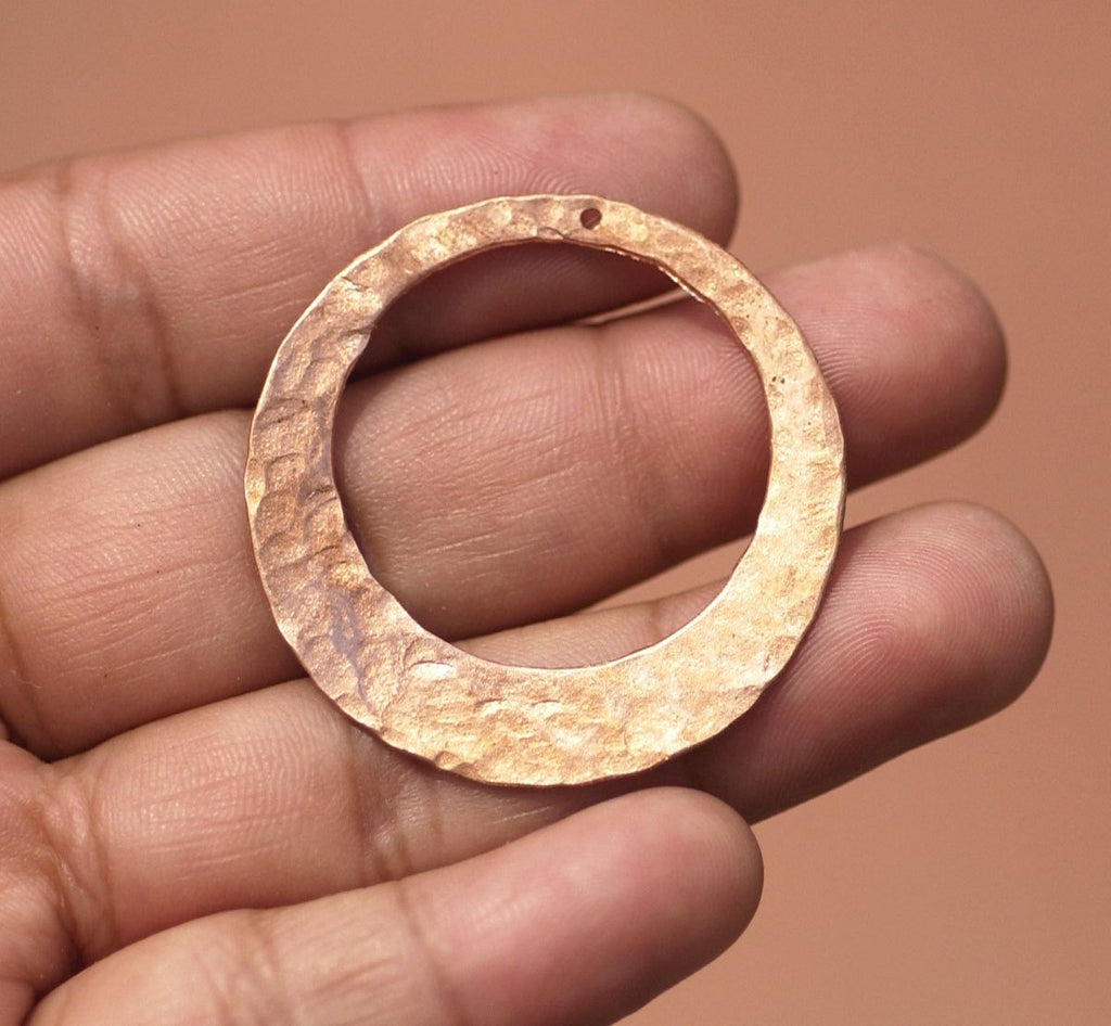 Hand Hammered 35mm Hoops with Hole for Earrings or Pendant Offset Circle for Enameling Stamping Blanks, Jewelry Components - 2 Pieces