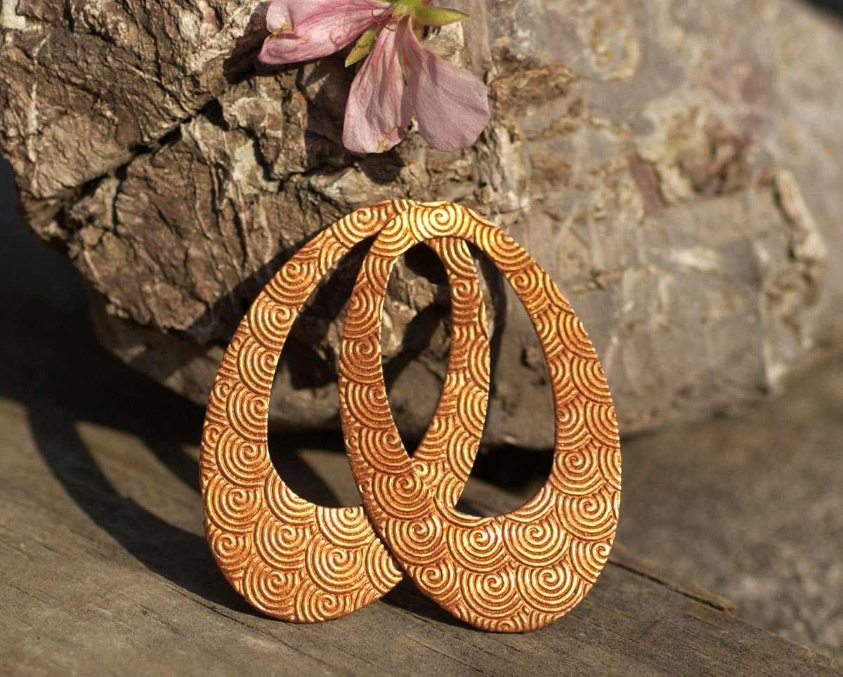Copper Teardrop 56mm x 34mm Spiral Pattern Blanks Shape Cutout Blank for Enameling Metalworking Jewelry Making