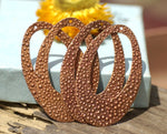 Copper Hoops Teardrops 56mm x 34mm Pebbles Pattern Shape with Hole Cutout Blank for Metalworking Supplies - 4 pieces