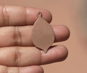 Leaf with Hole 20g 34mm x 19mm Blank Cutout for Enameling Stamping Texturing  4 pieces
