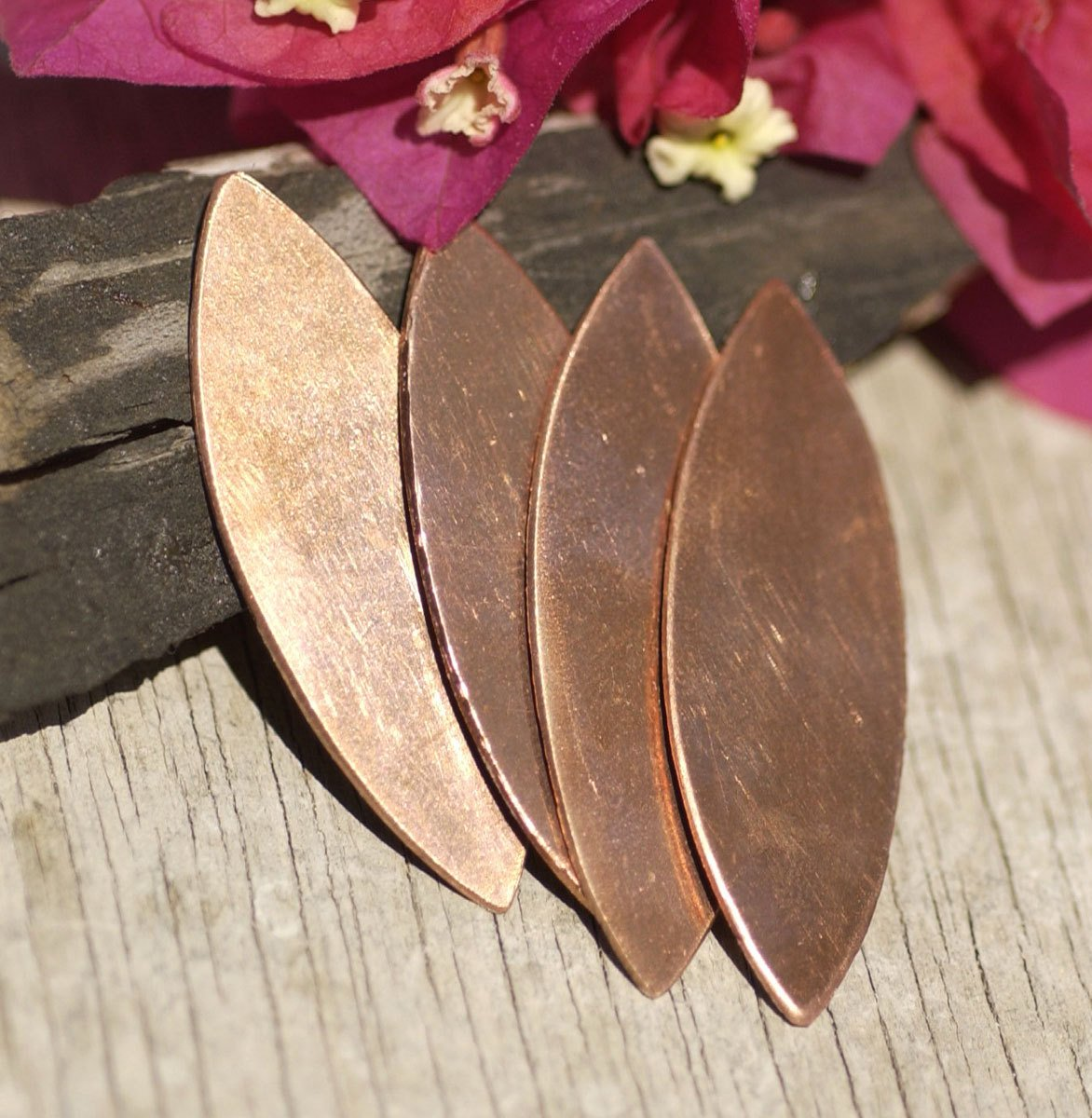 Copper or Nickel Silver Eye Pointed Oval Blank 39mm x 13mm 20g Shape Cutout for Enameling Stamping Texturing  4 pieces