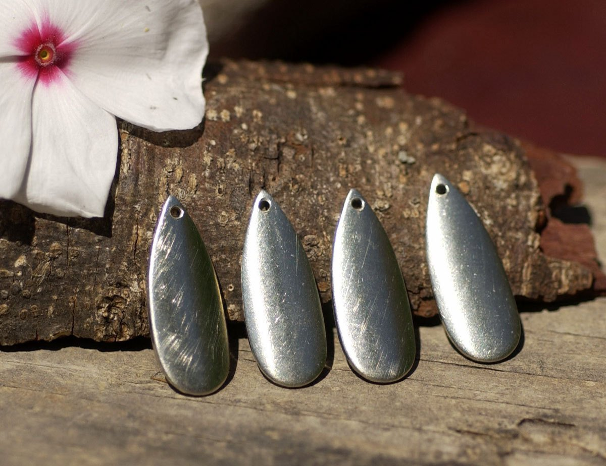 Nickel Silver Blank Teardrop Curved Leaf  with Hole 20g 24 x 10mm Cutout for Blanks Enameling Stamping Texturing - 4 pieces