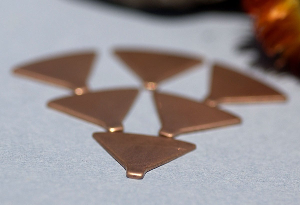 Copper Rounded Triangles Dangles 19mm x 15mm for Enameling Stamping Texturing Soldering Blanks - 6 pieces