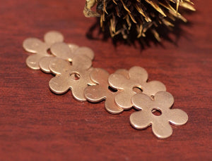 Copper Flower with Center for Blanks Enameling Stamping Texturing - 6 pieces