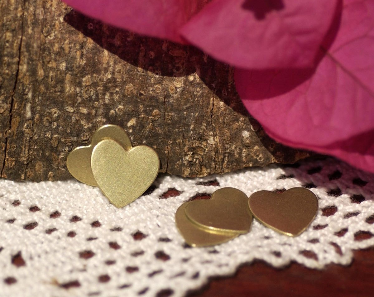Brass Heart Tiny Classic13mm x 12mm 20G Blank Cutout for Metalwork Stamping Texturing Blanks