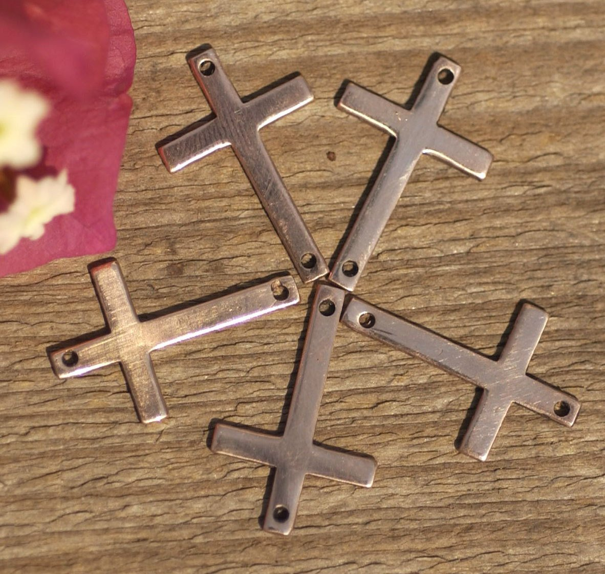 Copper or Nickel Silver 21mm x 14mm 20g Blank Classic Religous Cross with hole Blanks Cutout for Enameling Stamping Texturing