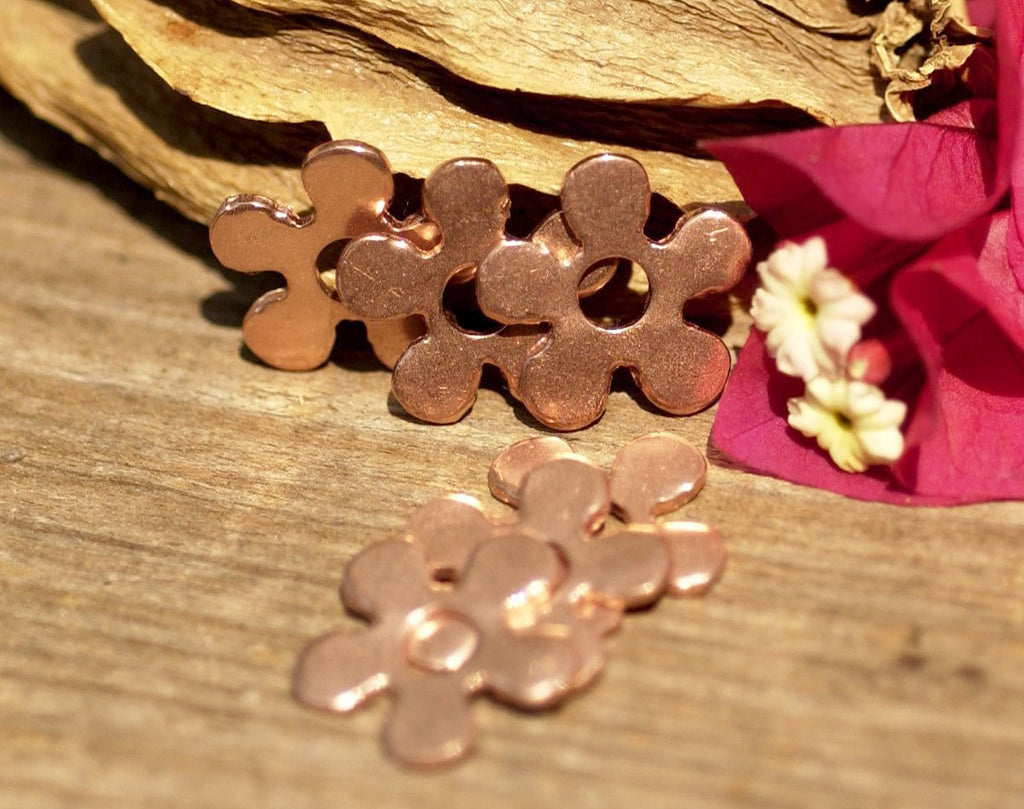 Flower with Center 17mm for Blanks Enameling Stamping Texturing Variety of Metals - 6 pieces