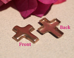 Copper Bezel Cup Religous Cross Blank Cutout for Enameling Stamping Texturing Blanks  4 pieces