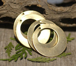 25mm Bronze Hoops with Hole for Earrings or Pendant Offset Circle for Metalworking Stamping Texturing Charm - 4 Pieces