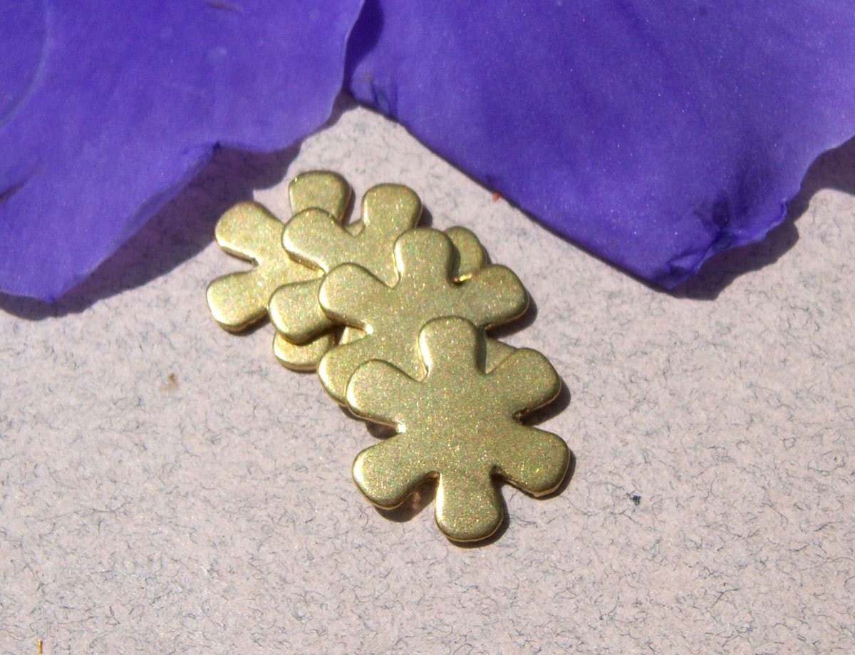 Brass Flower Deep Petals Blank Metalworking Cutout Figure for Blanks Soldering Stamping Texturing - 6 pieces