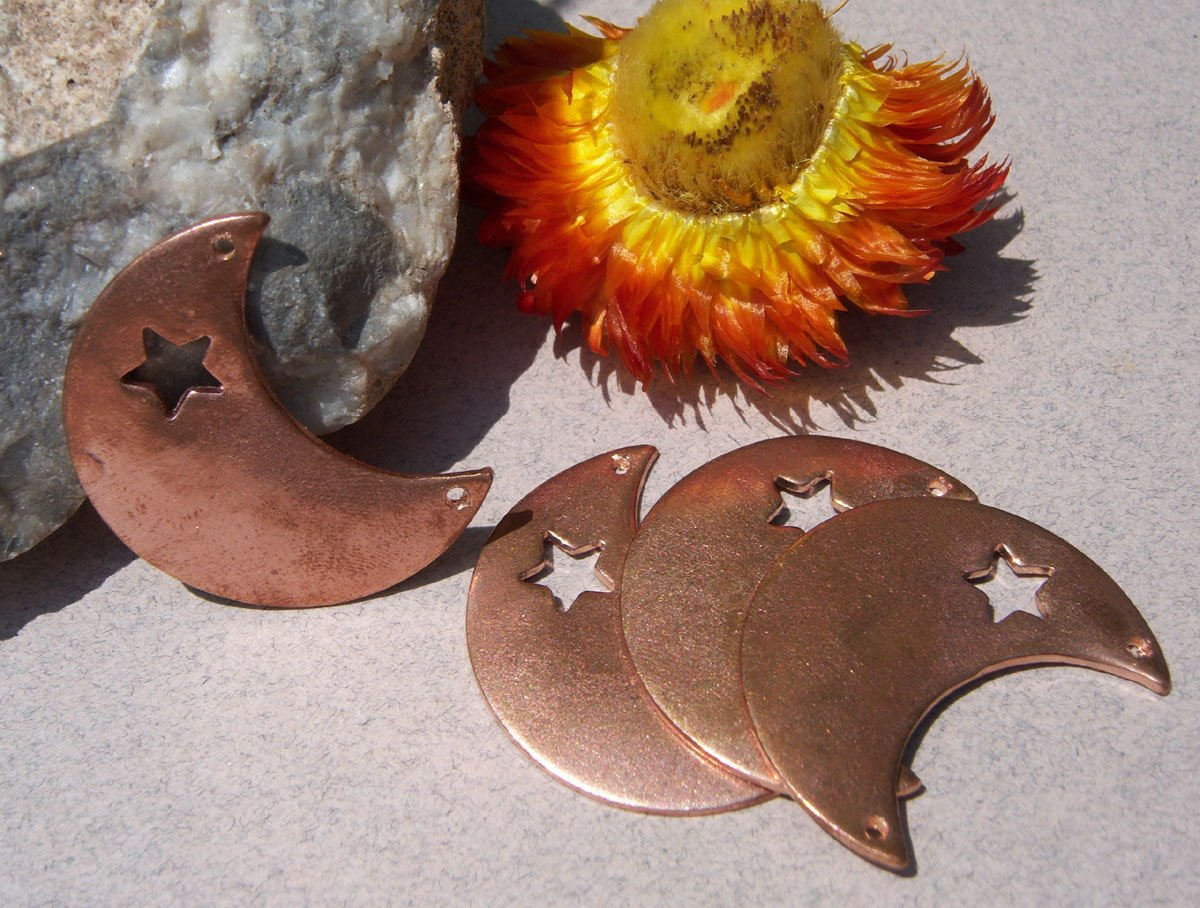 Copper or Brass or Bronze or Nickel Silver Moon 20g with Star with holes - Blanks Cutout for Enameling Stamping Texturing 3/4 inch (IZQ)
