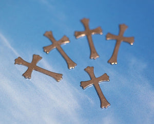Copper Fleur de Lis III Religous Cross Blank 21mm x 12mm Cutout for Enameling Stamping Texturing Blanks