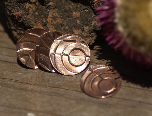 Jewelry Blanks Copper Disc 15mm 24g with Texture for Enameling Polished Textured Blanks Shape - 6 Pieces