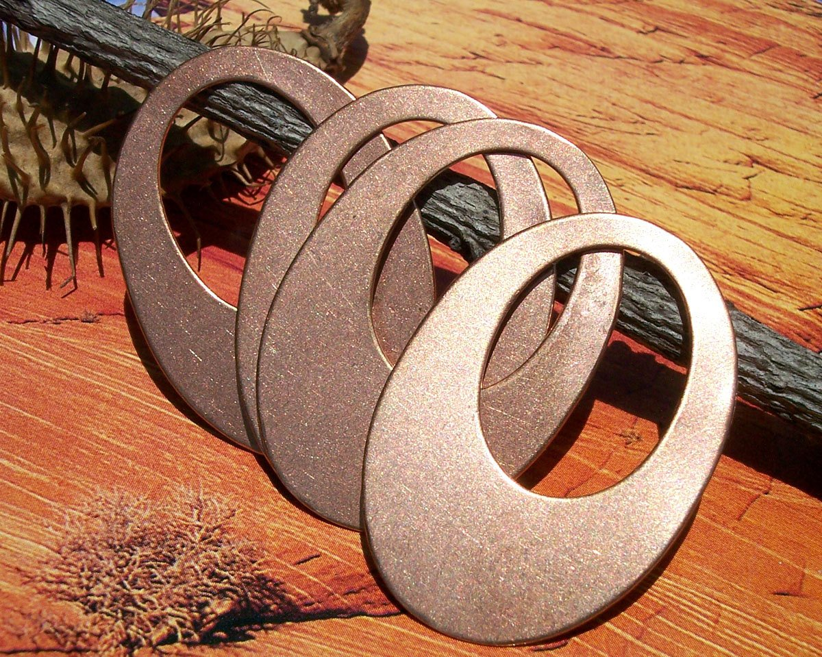 Copper Oval  38mm x 27mm Shape Cutout Blank for Stamping, Enameling, Metalworking, Patinas