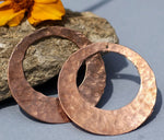 Handmade Copper Hammered Blanks, Round Hoops with Hole 40mm 26G for Earrings or Pendant Offset Circle - 2 Pieces