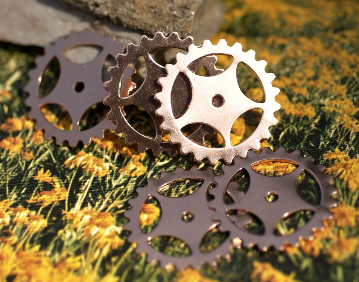 Copper 25mm Gear Cog Blanks Cutout for Enameling Stamping Texturing - 6 pieces