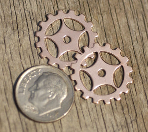 Copper 19mm Blank Gear Cog Charm Cutout for Enameling Stamping Blanks Jewelry Making