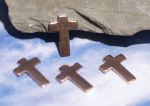 Copper Classic Tiny Religous  Blank Cross Cutout for Enameling Stamping Texturing Soldering Shape Charms Jewelry Making Blanks  6 pieces