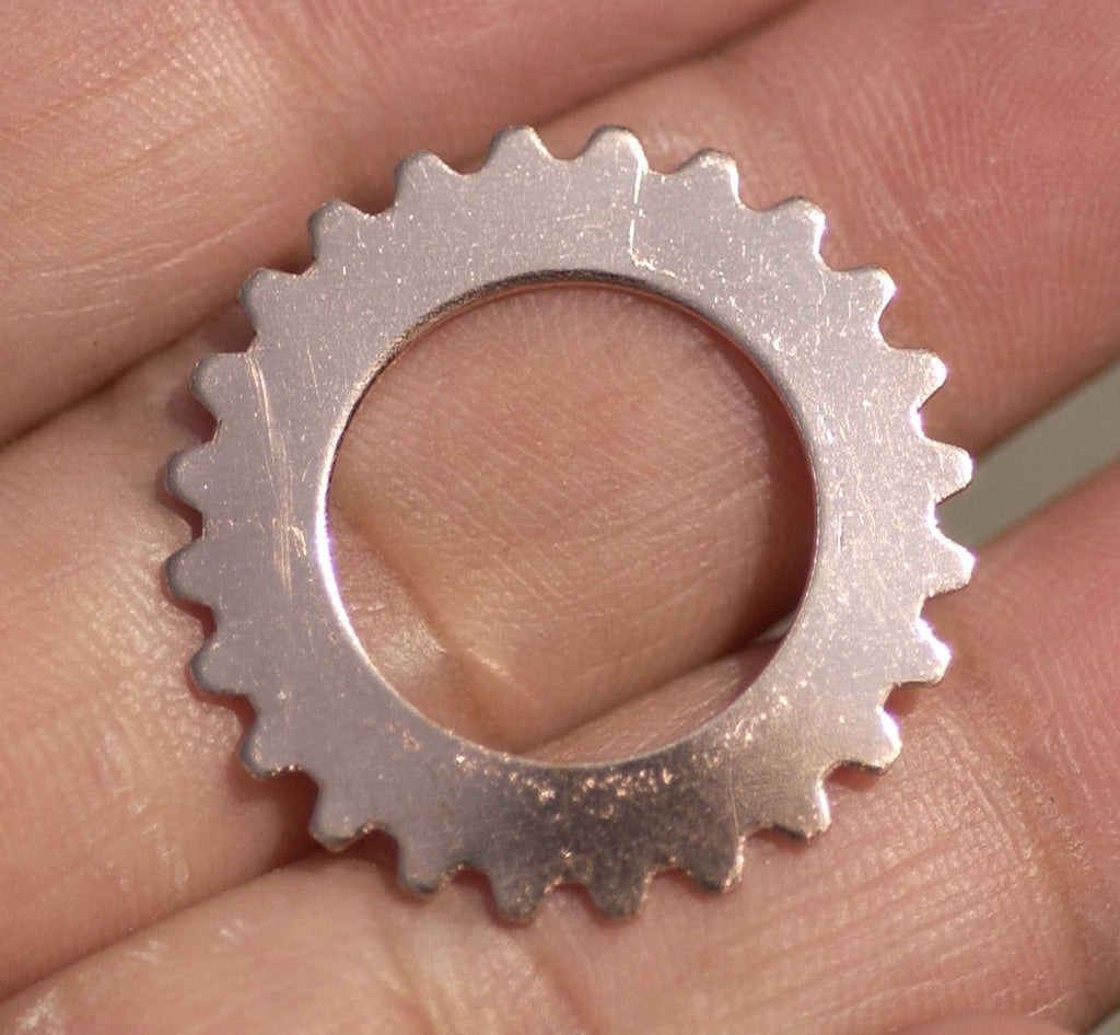 Copper 25mm Gear Cog with 15mm Blanks Cutout Cutout for Enameling Stamping Texturing Blank