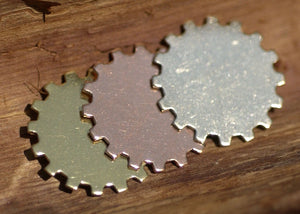 Bronze 35mm Blank Gear Cog 22g Cutout Cutout for Metalworking Stamping Texturing Blank - 4 pieces