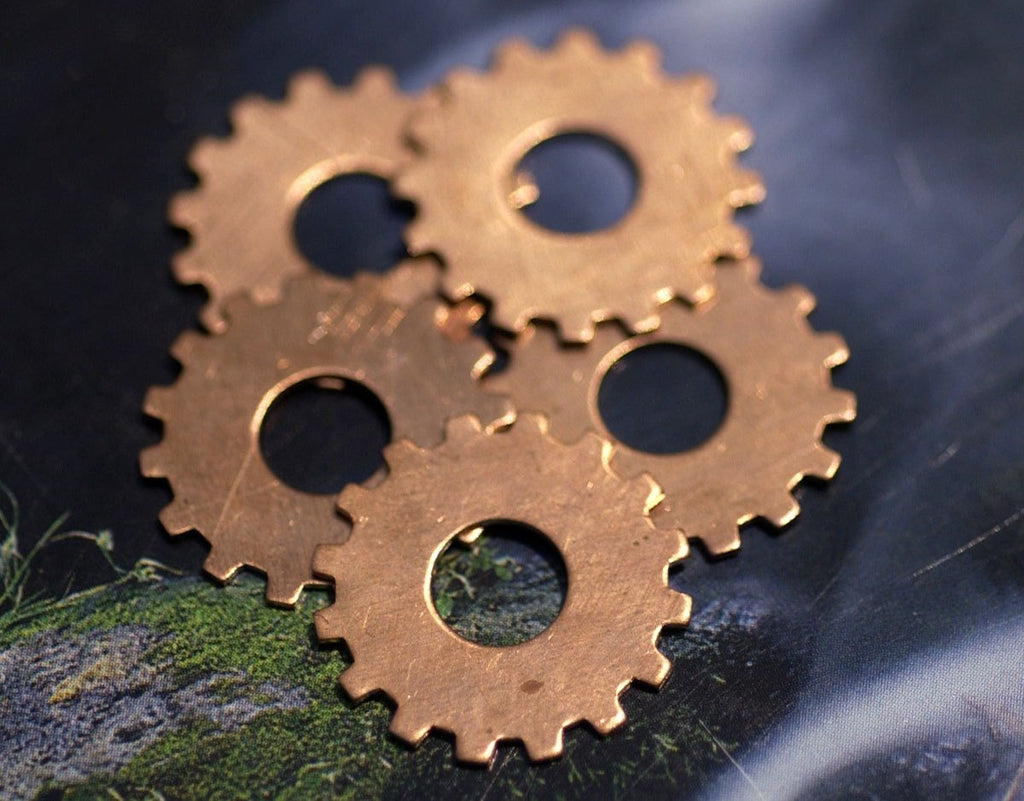 Copper or Brass or Bronze or Nickel Silver 19mm 24g Blank Gear Cog with 6.8mm Cutout for Enameling Stamping Blanks Texturing - 6 pieces