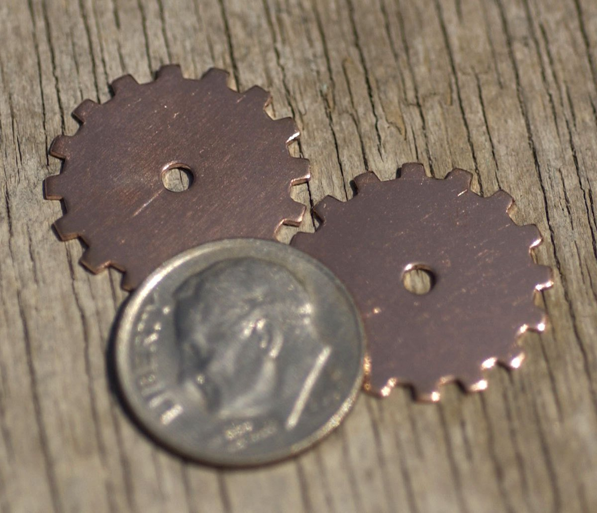 Copper Gear Blank 19mm with 2mm Cutout for Blanks Enameling Stamping Texturing - 6 pieces