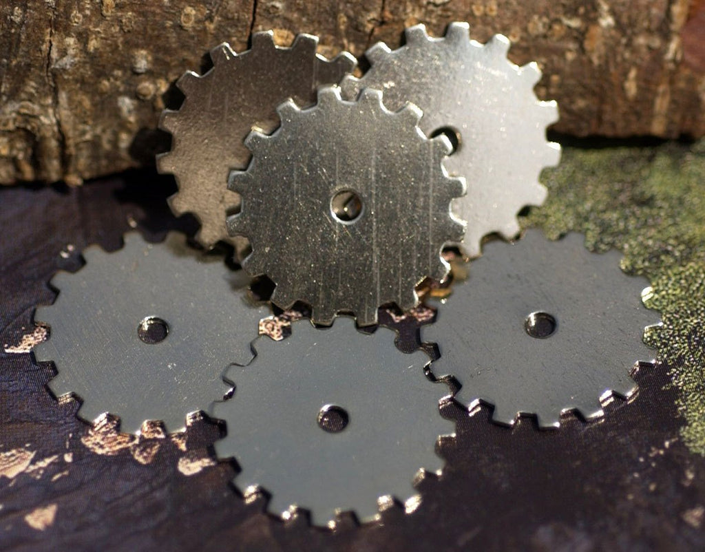 Nickel Silver Blank 19mm Gear Cog with 2mm Cutout Cutout for Blanks Enameling Stamping Texturing