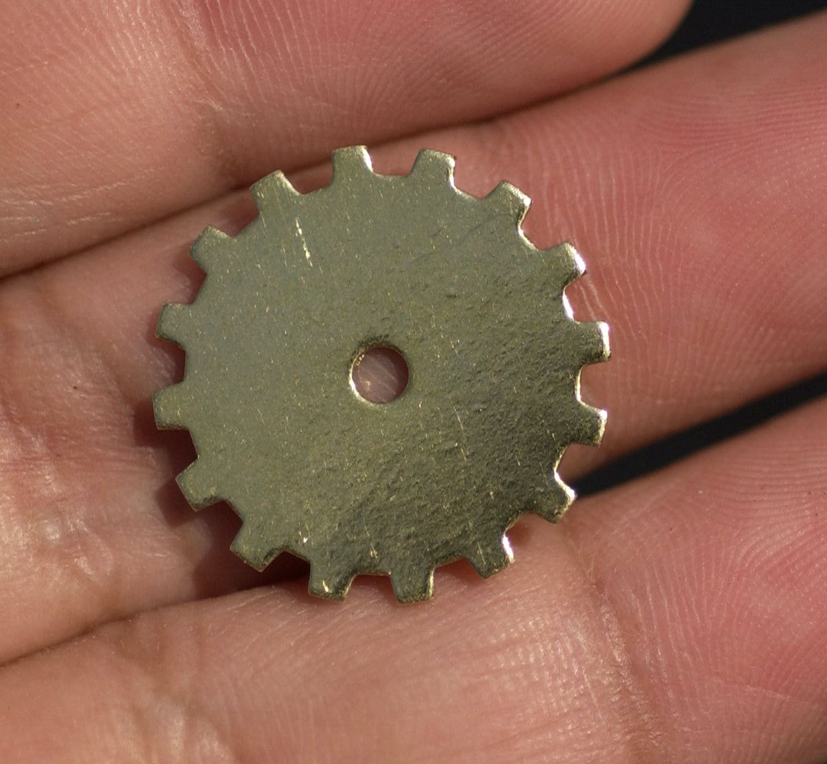 Brass 19mm Gear Cog with Blank 2mm Cutout Cutout for Enameling Stamping Texturing Blanks