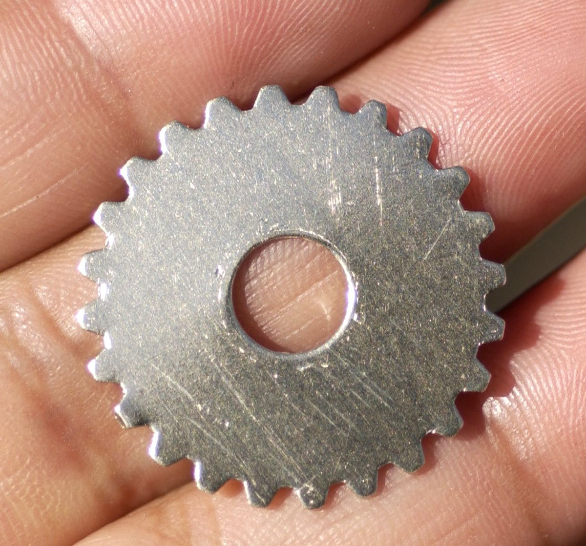 Nickel Silver 25mm Gear Cog Blanks with 6.8mm 24g Cutout for Stamping Texturing Polished Blanks Jewelry Making