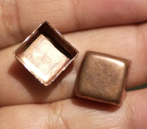 Copper Ends or Box or Bezel Cups - 24g 12mm Square Blanks Cutout for Enameling - 4 pieces