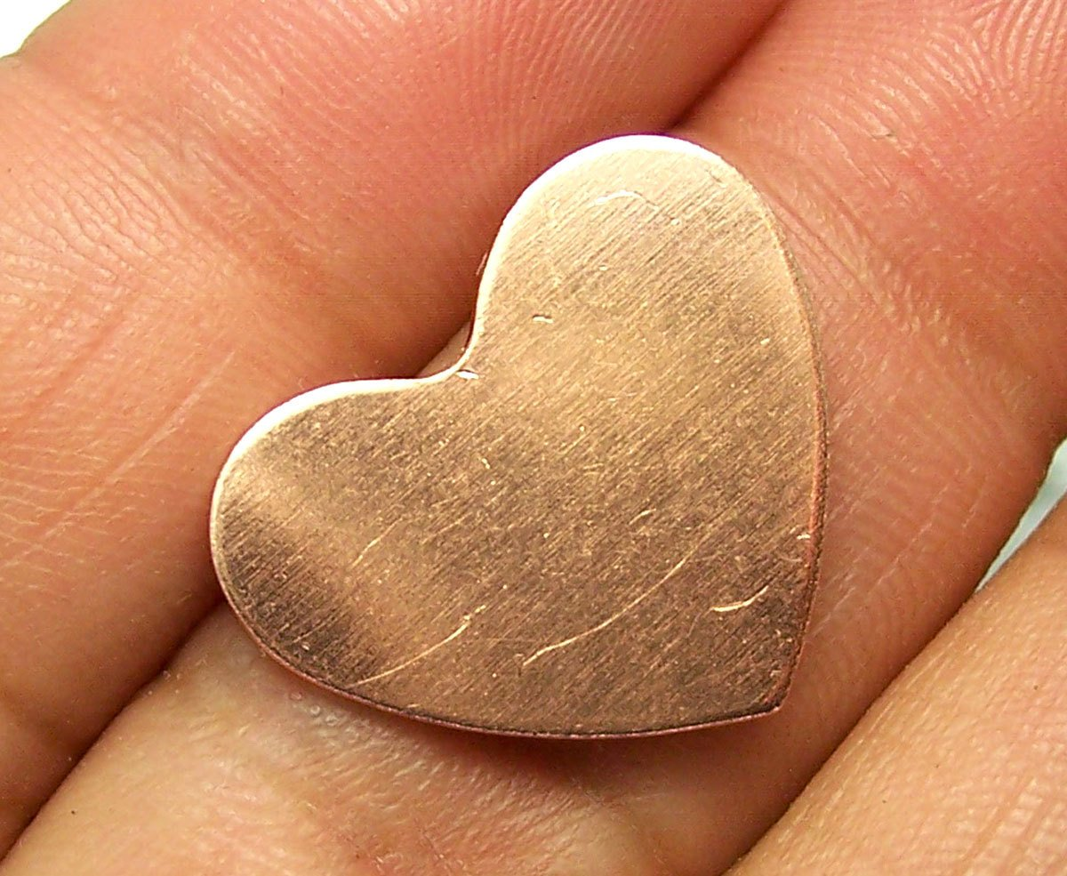 Copper Heart Classic Shape 18mm x 15mm 20g Blanks Cutout for Enameling Stamping Texturing - 8 pieces