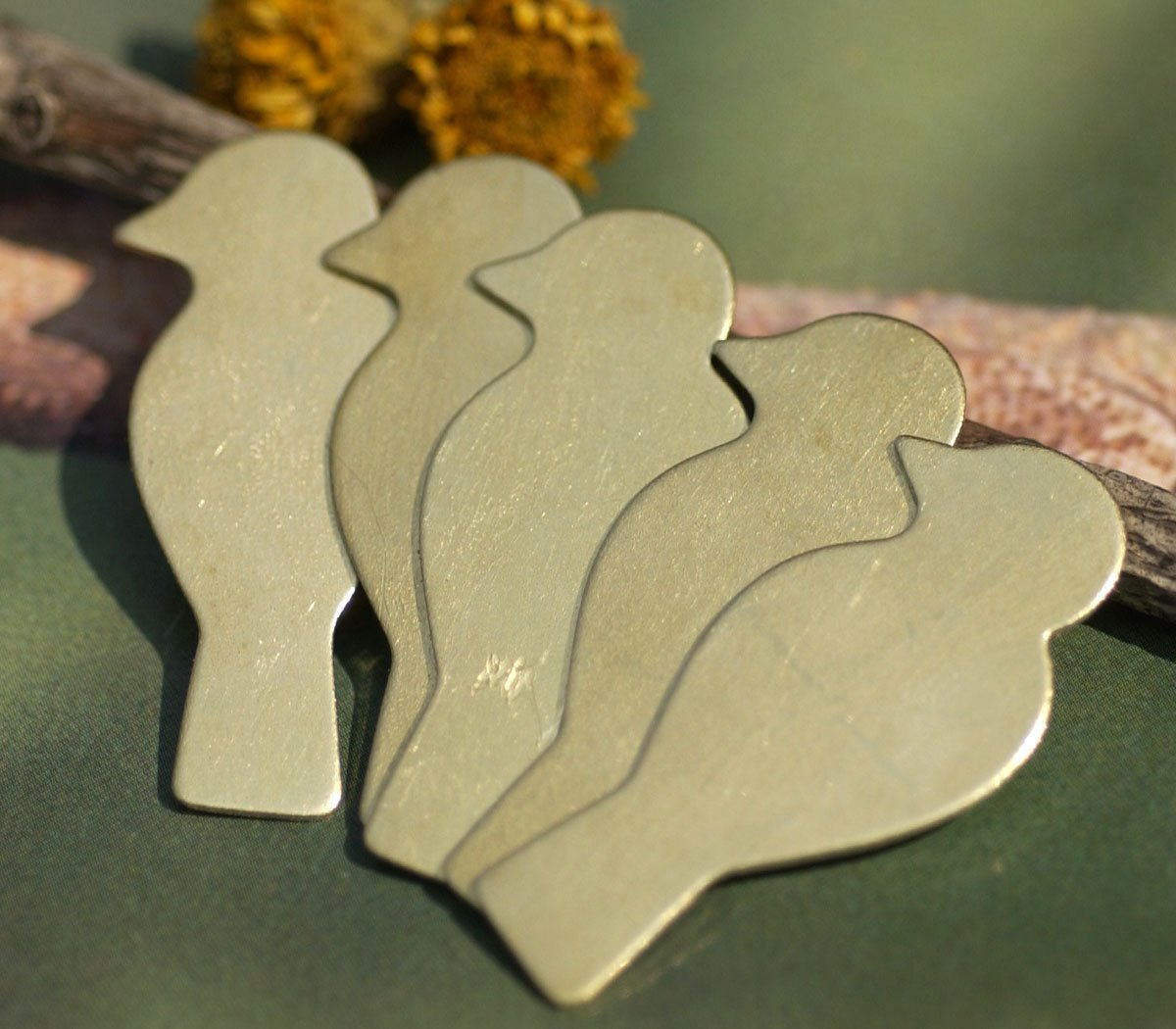Nickel Silver Perched Bird Blank in Lotus Flowers Texture for Metalworking Enameling Stamping Texturing Blanks - 4 pieces