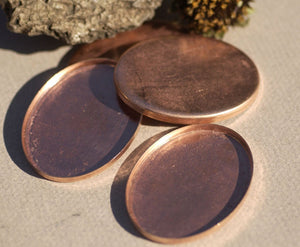 Copper Oval Bezel Cups - 24g 50mm x 38mm Outside Dimension, 4mm tall for Enameling