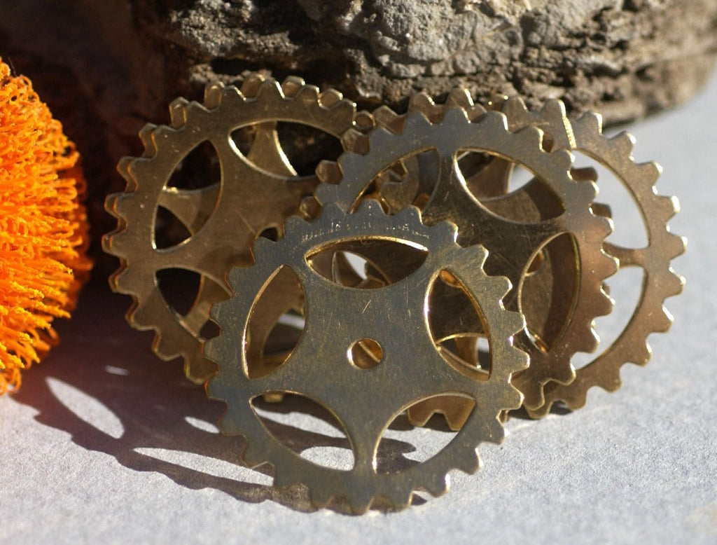 Bronze 25mm Blank Gear Cog Cutout for Metalworking Stamping Texturing Blanks