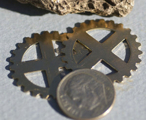 Bronze or Brass Blank 25mm 24g Gear II Cog Cutout for Blanks Metalworking Stamping Texturing