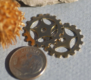 Bronze 19mm Blank Gear Cog Cutout for Metalworking Blanks Stamping Texturing - 6 pieces