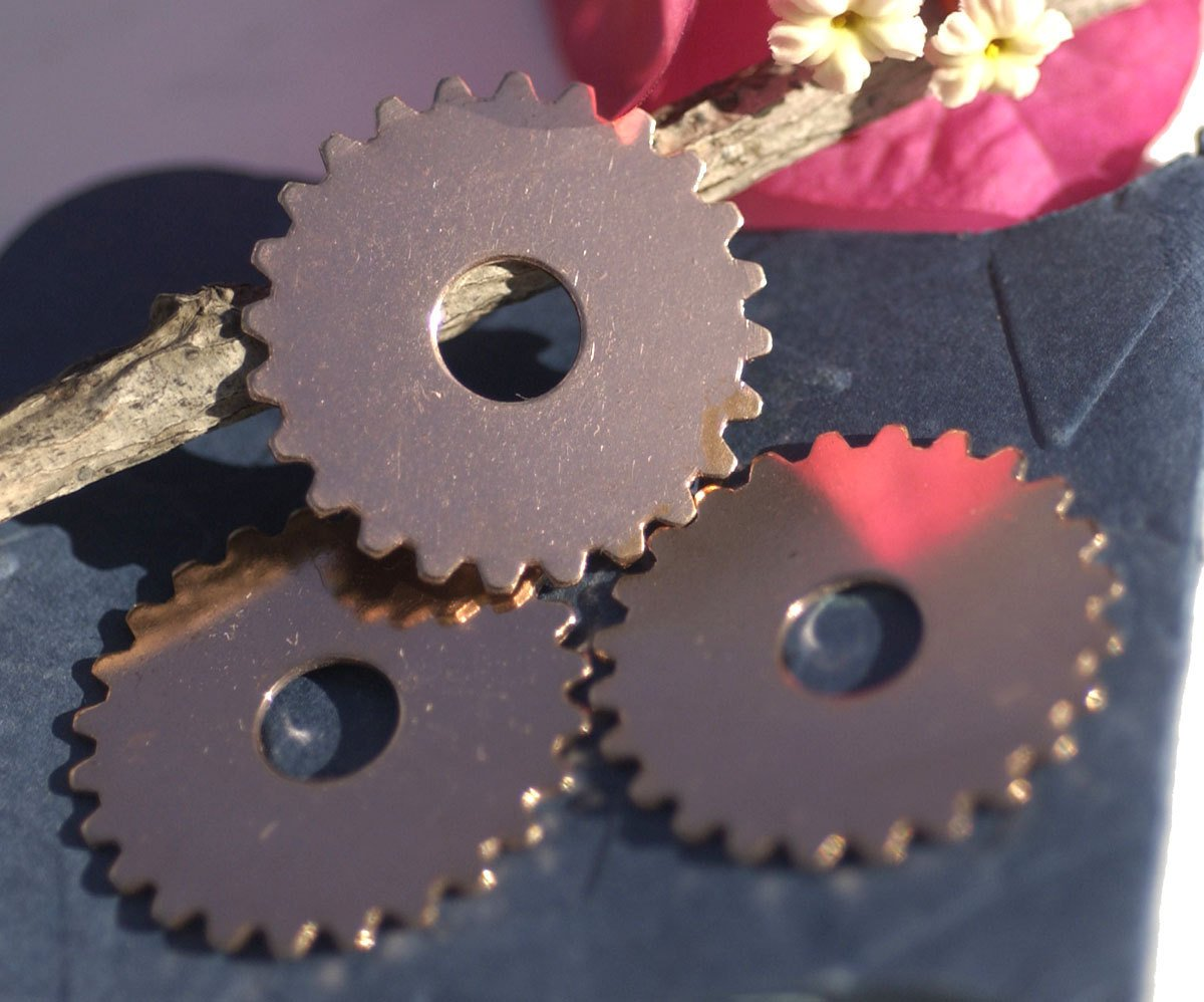 Copper 25mm 24g Gear Cog with 7mm Cutout for Enameling Stamping Texturing