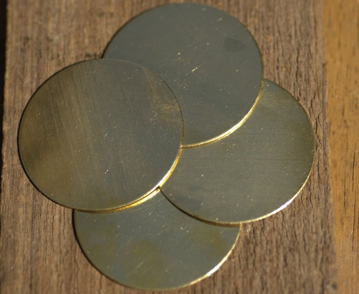 Metal Brass Disc Blank 38mm 22G Circle Cutout for Soldering Stamping Texturing, Jewelry Supplies - 5 Pieces