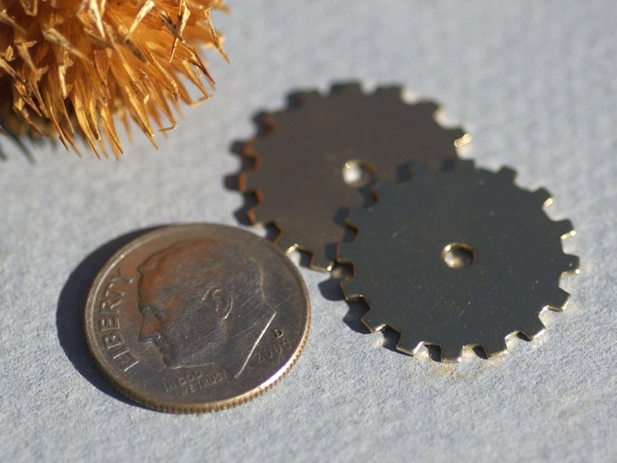 Bronze 19mm Blank Gear Cog with 2mm Cutout Cutout for Stamping Texturing
