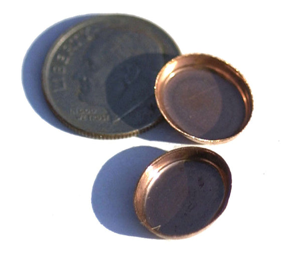 Copper Oval Bezel Cups - 28g - 12.9mm x 11.4mm Outside Dimension, 2.6mm tall for Enameling Blank - 6 pieces