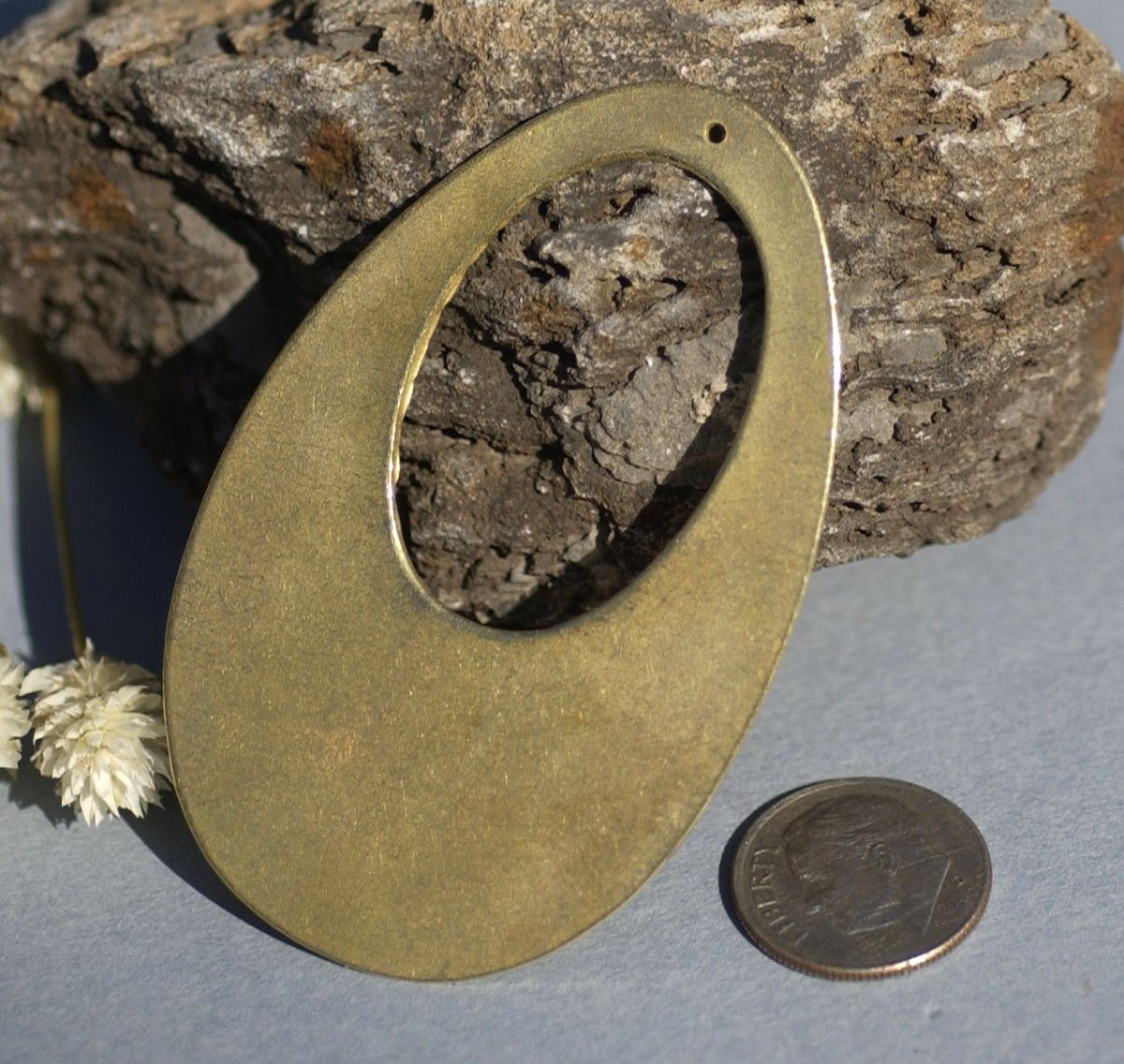 Brass Teardrop 65mm x 41mm Shape with Hole Cutout Blank for Stamping, Metalworking,Texturing, Soldering Blanks
