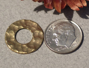 Brass Hammered Donut Washer 18mm 24g Enameling Soldering Stamping Blanks - Lampwork Beadcaps Possibly - 6 Pieces