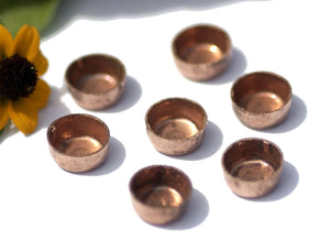 Copper Bezel Cups Blanks for Resin 26g 7mm OD 3mm tall for Enameling, Variety of Metals, - 8 pieces