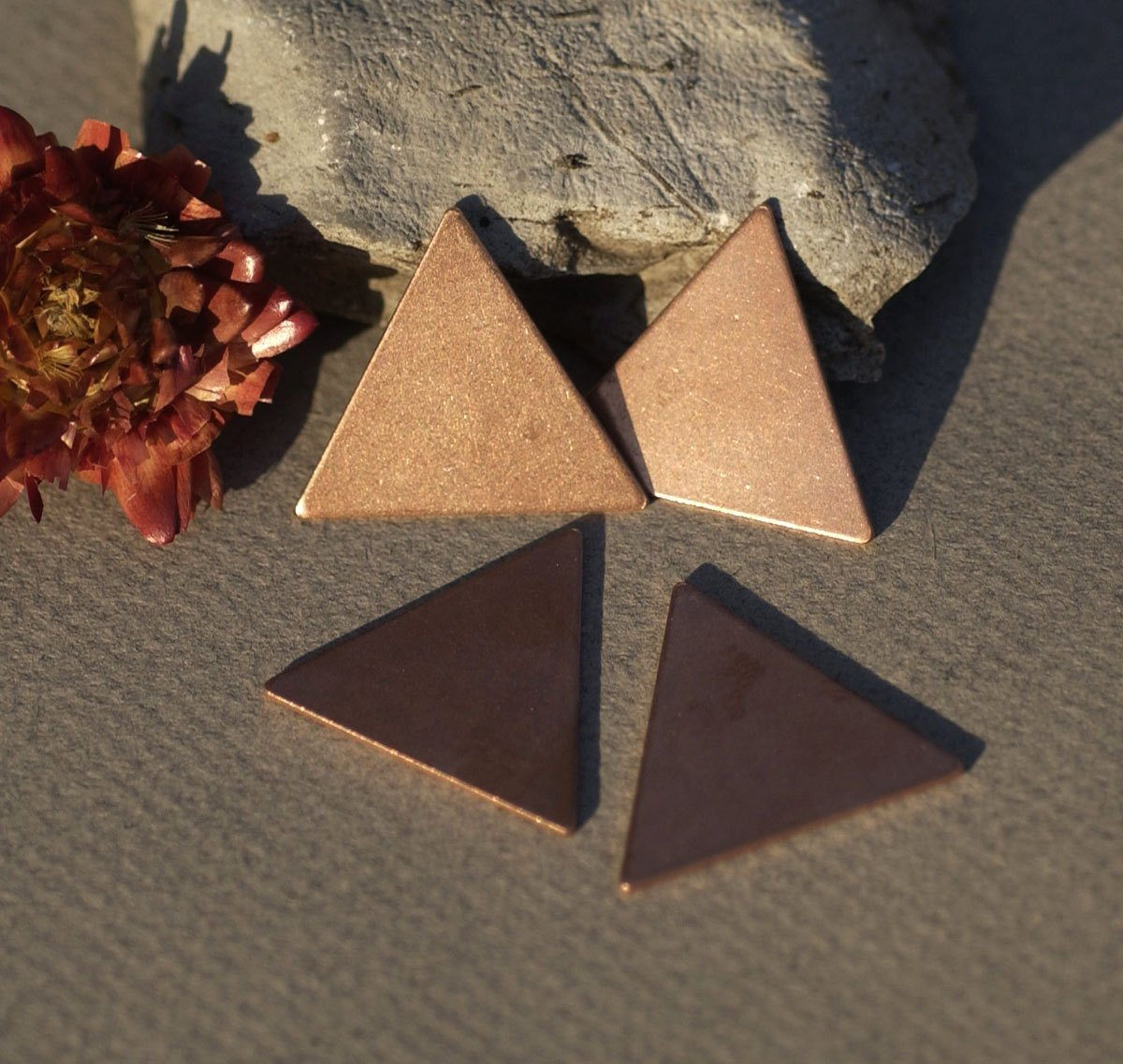 Copper or Brass or Bronze Triangle 25mm 20g for Enameling Stamping Texturing Soldering Blanks - 5 pieces