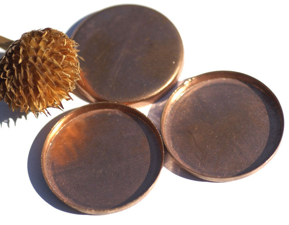 Copper Bezel Cups Round 25mm Round Blanks Cutout for Resin Enamel Enameling - 5 pieces