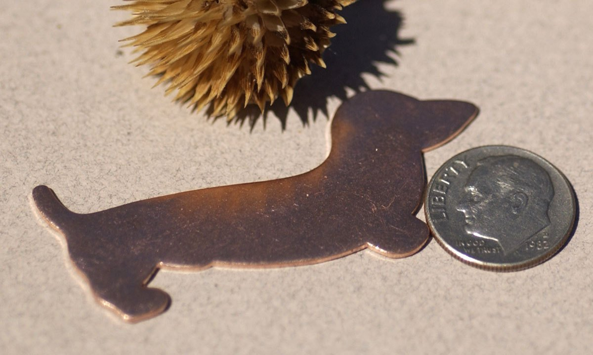 Doxie Dog Copper for Blanks Enameling Stamping Texturing - Metal Supplies - 4 Pieces