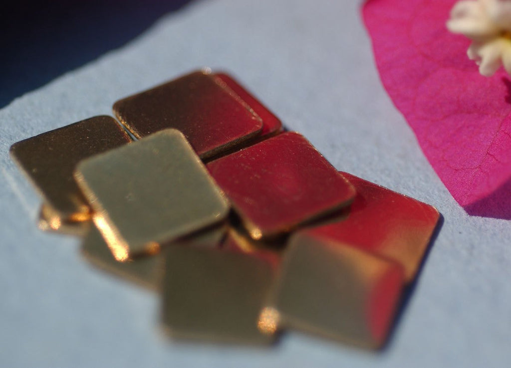 Buy Brass 22g 8mm Square Blank Cutout for Metalworking Stamping Texturing Blanks - 12 pieces online