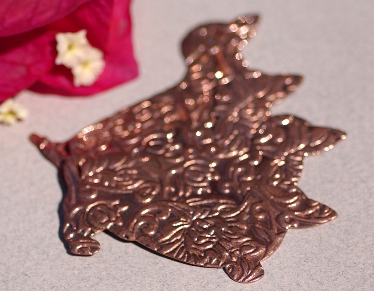 Copper Blank Doxie Dog in Lotus Flowers Texture for Metalworking Blanks - 4 pieces